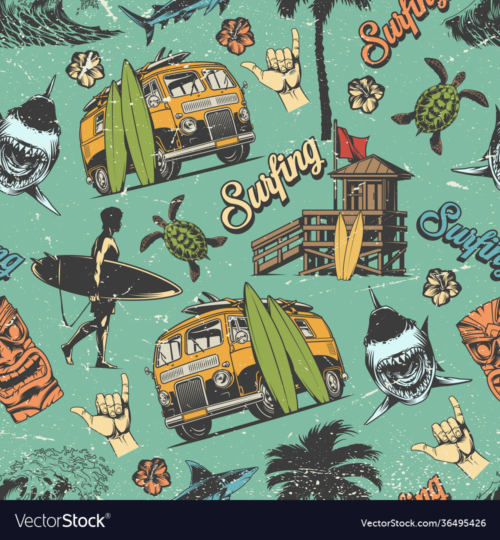 Surfing vintage colorful seamless pattern