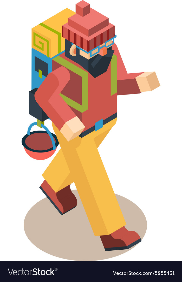 Backpacker Traveler Polygonal Character Walk
