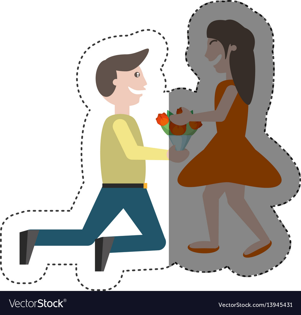 Couple romance- man kneel give flowers girl shadow