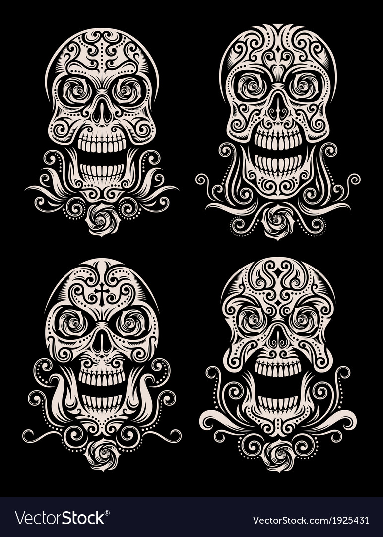 Day of the dead skull tattoo set vector image