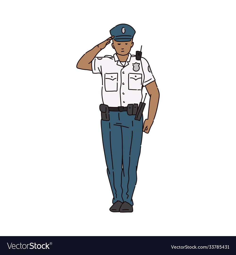 Policeman character in uniform saluting sketch