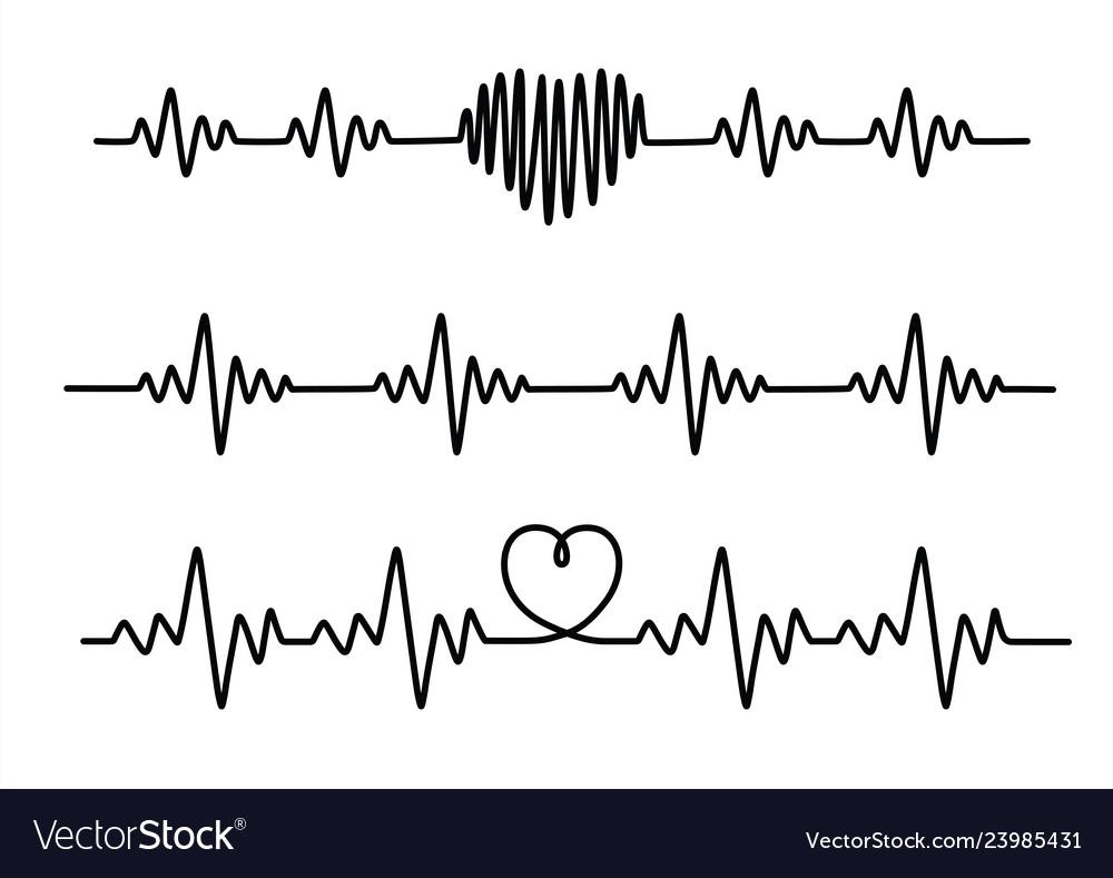Set black cardiogram lines isolated on white