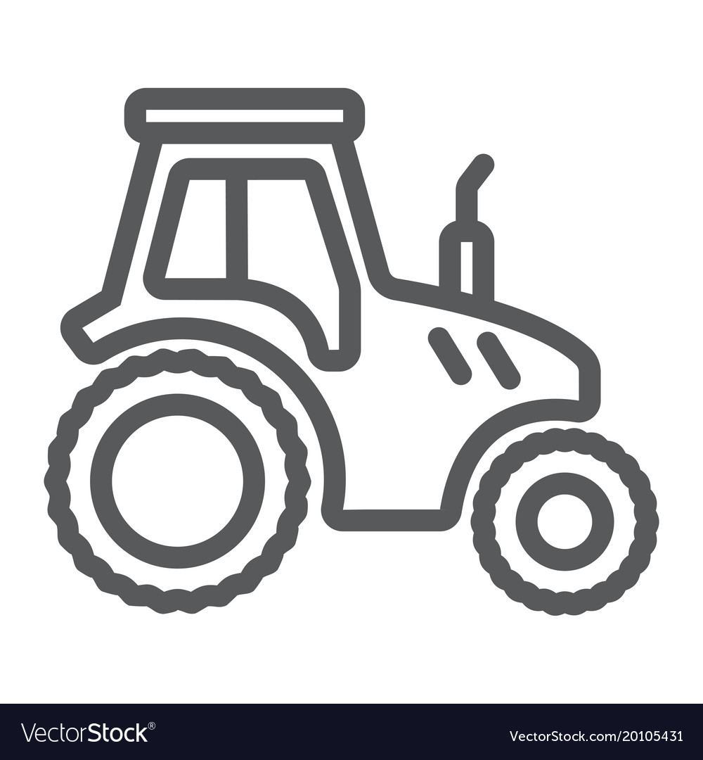 Tractor line icon farming and agriculture vector image