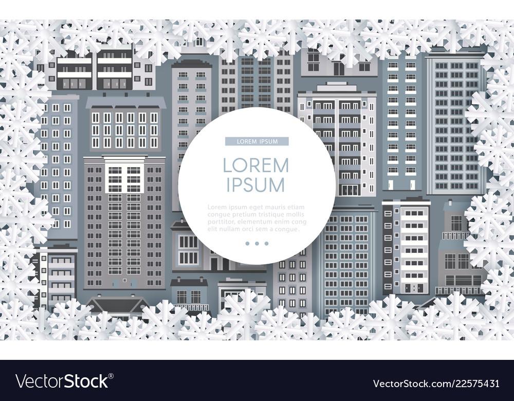 Winter urban cityscape background design
