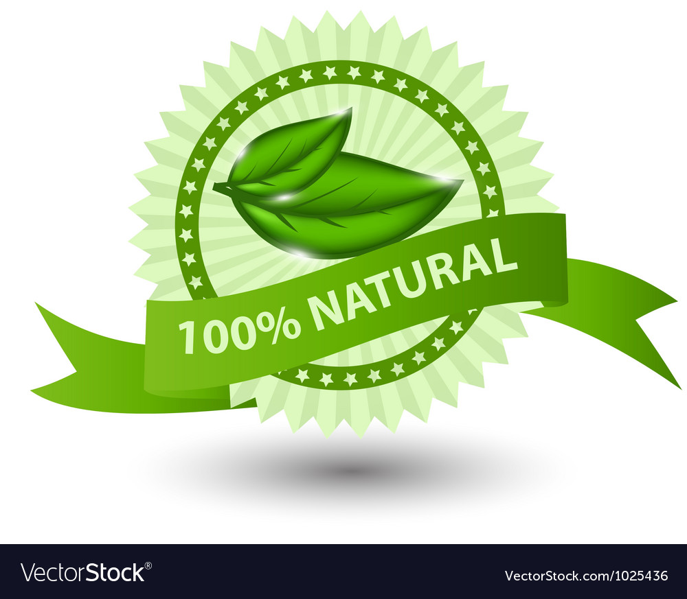 100 natural green label isolated on white vector image