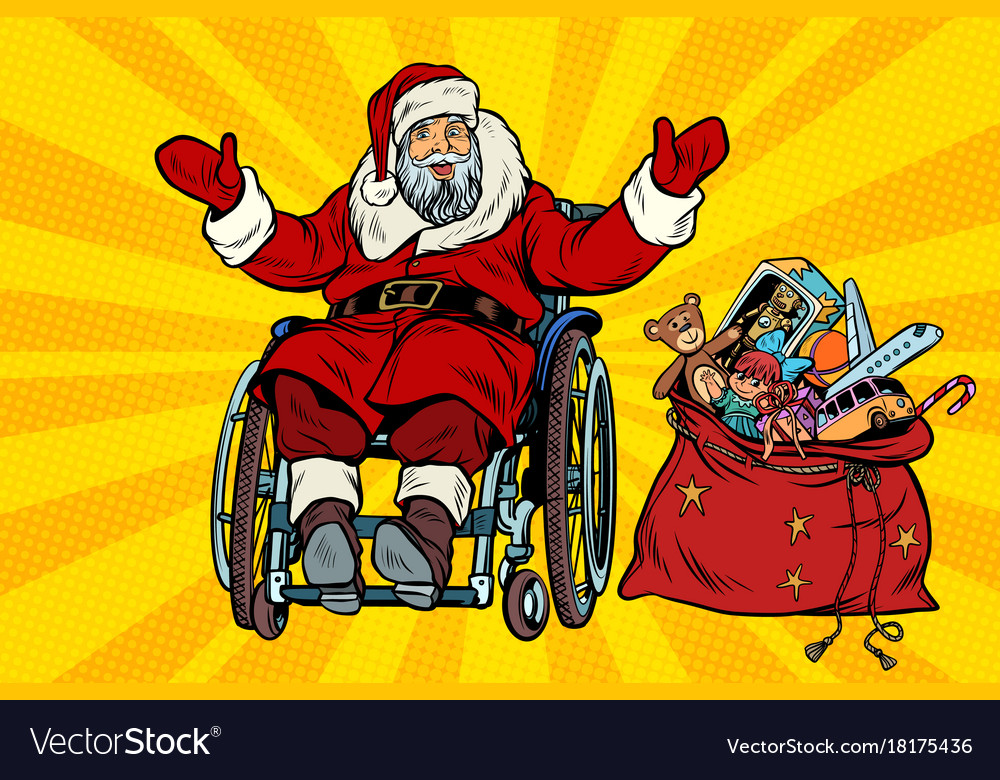 Disabled santa claus is in a wheelchair christmas