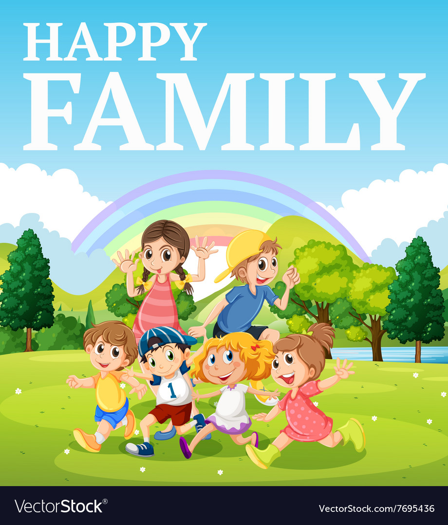 Family playing in the park vector image