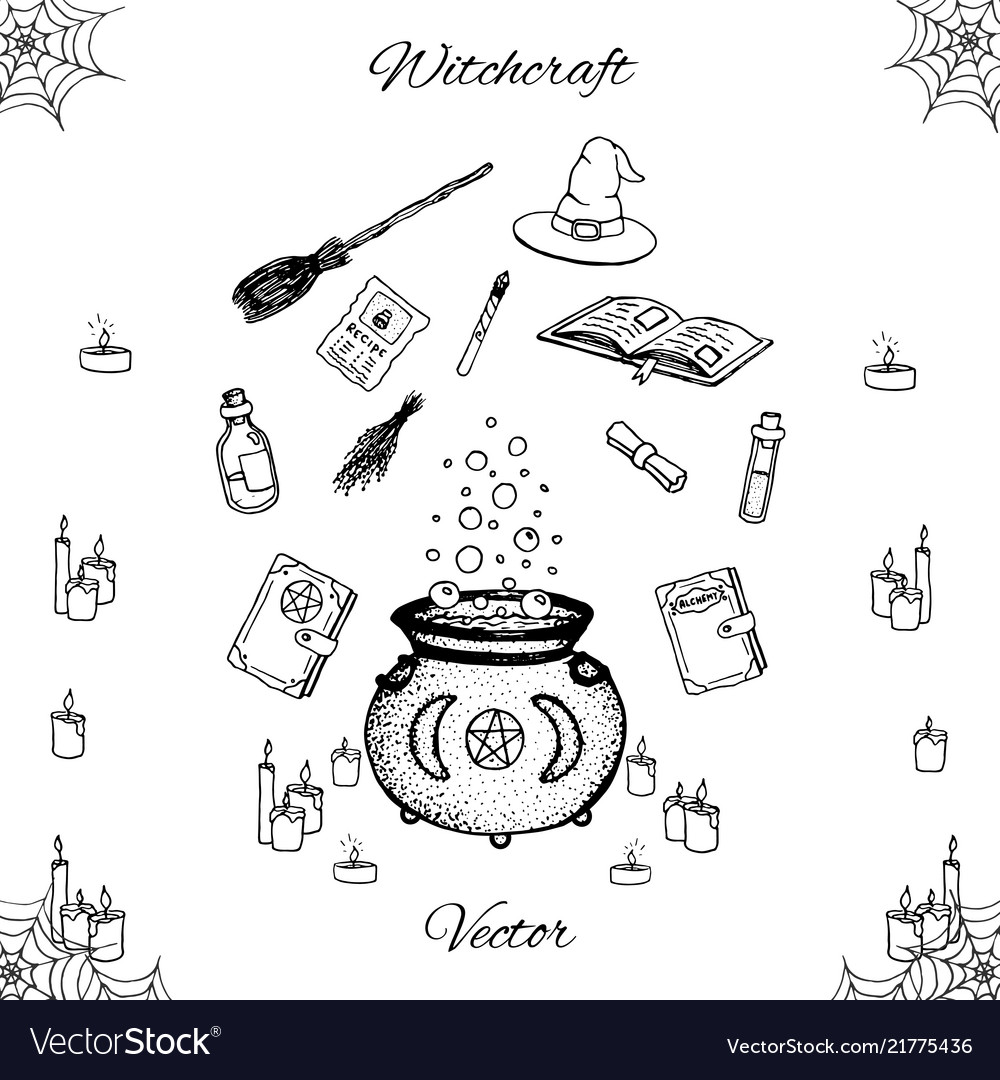 Hand drawn witchcraft set with magic wand book