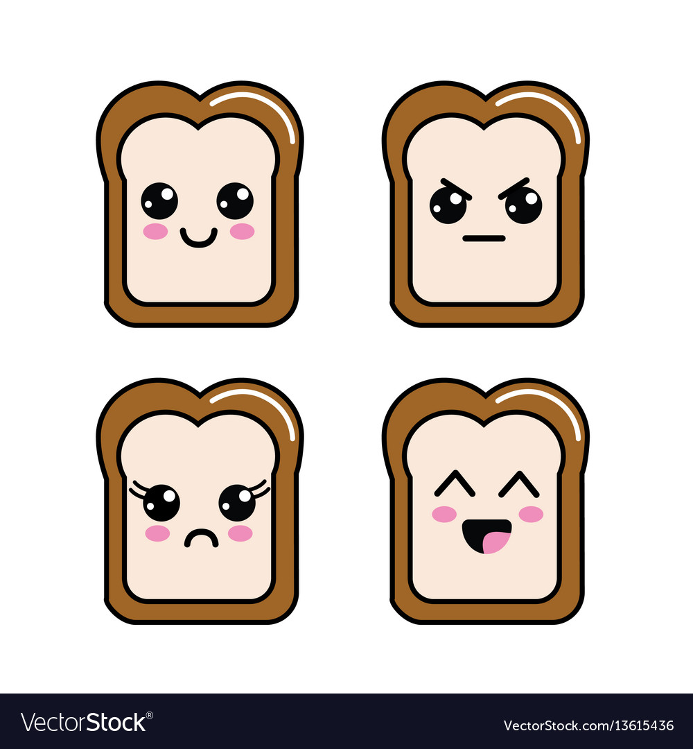 Kawaii halved bread faces icon