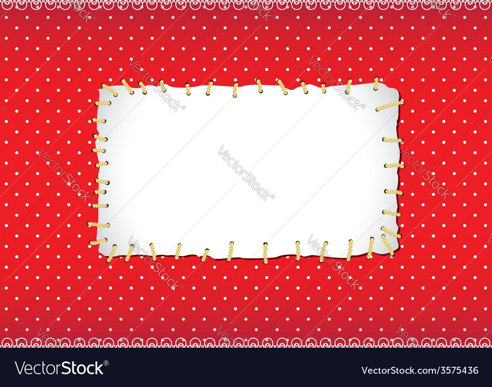 Polka dot frame with stitched patch Royalty Free Vector