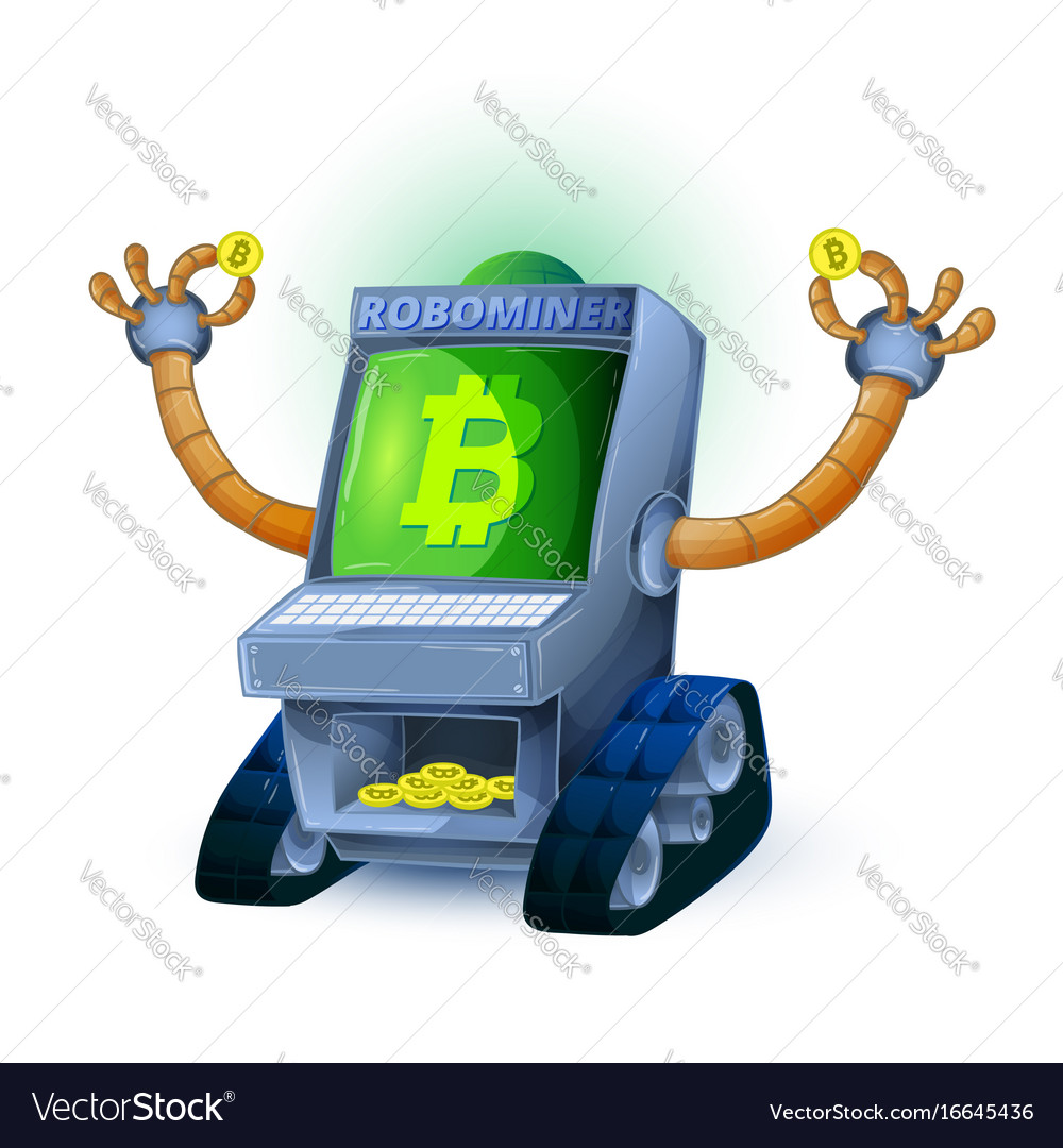 Robot mining coins with bitcoin symbol isolated on