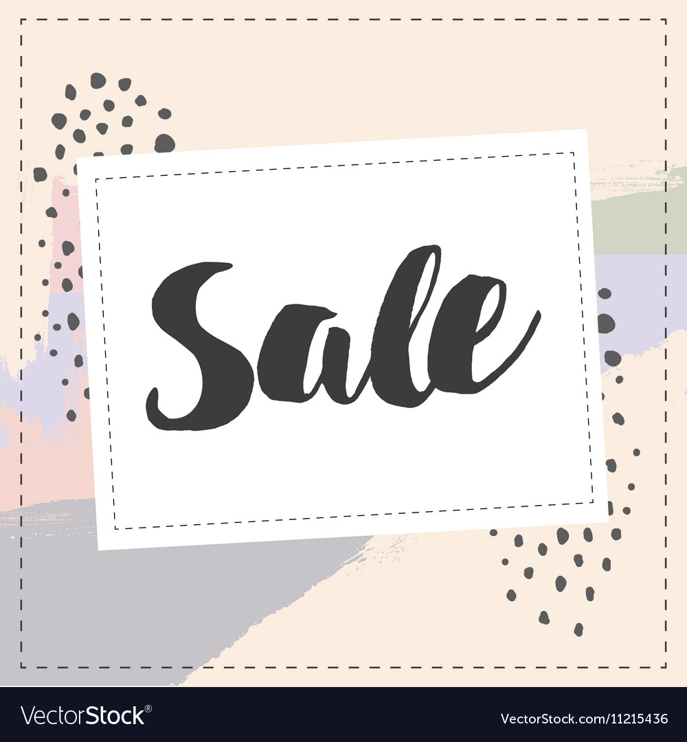 Sale banner graphic style pastel coloe brush