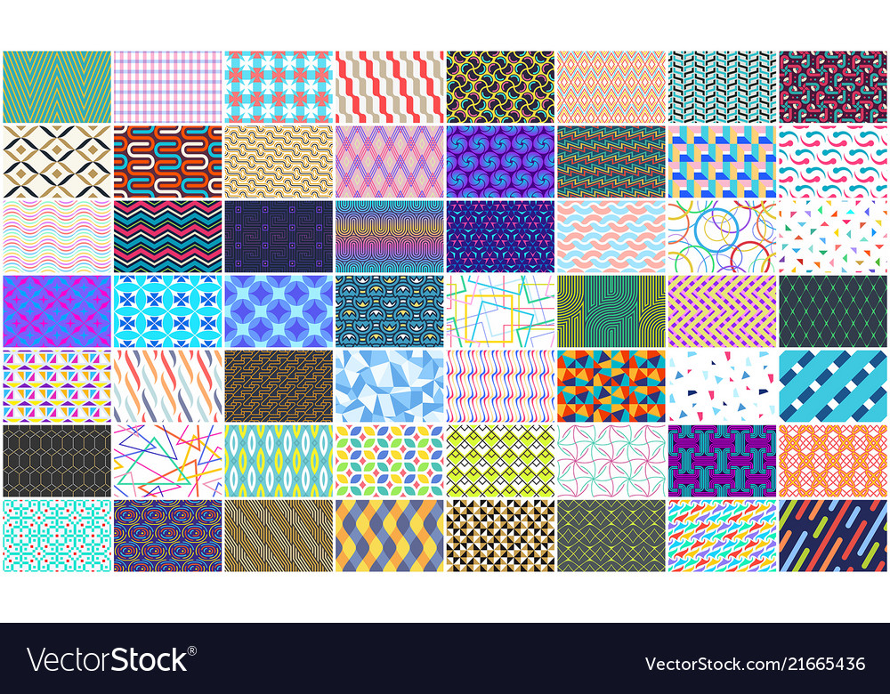 Set of colorful seamless geometric pattern
