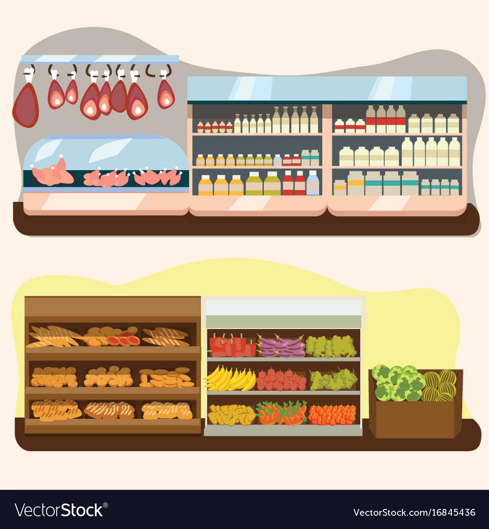 Set of supermarket departments fruit and milk