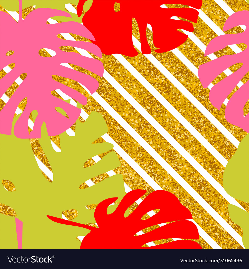 Tile tropical pattern with exotic leaves on golden