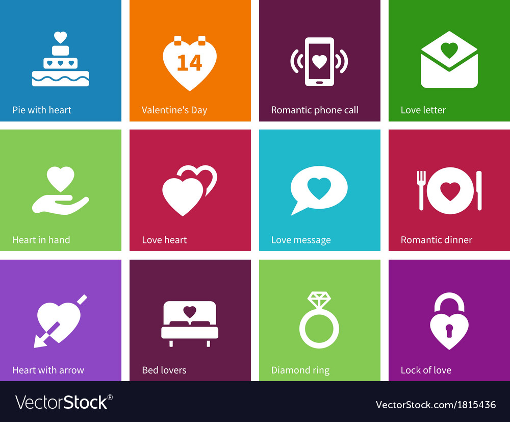 Valentines day icons on color background