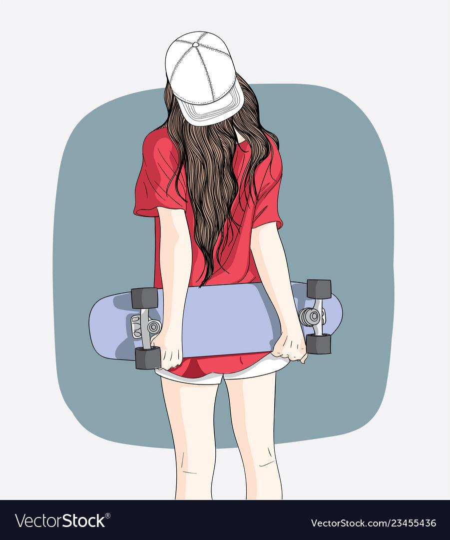 Women standing skateboarding in the summer