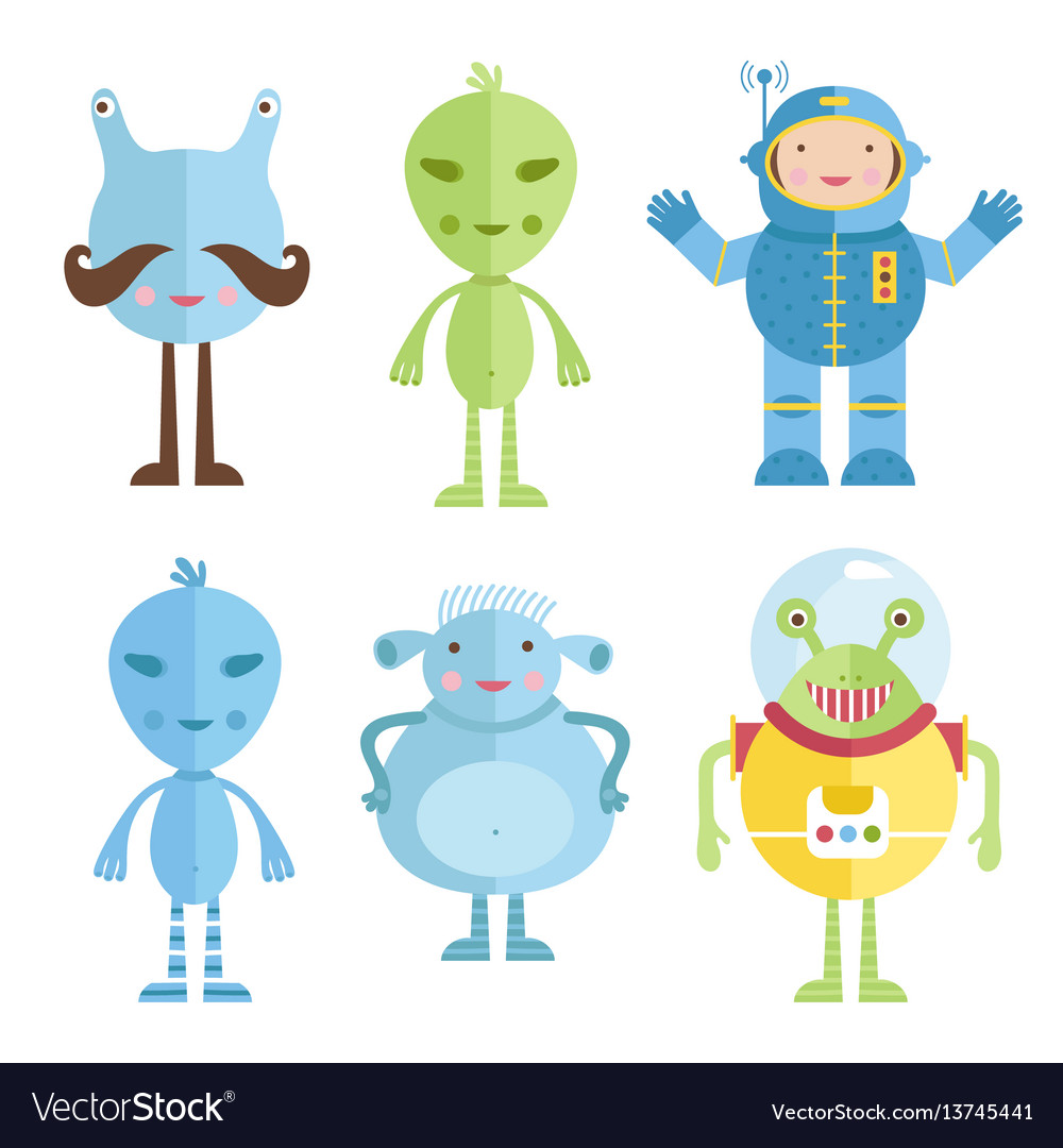 Aliens and astronaut icons in cartoon style