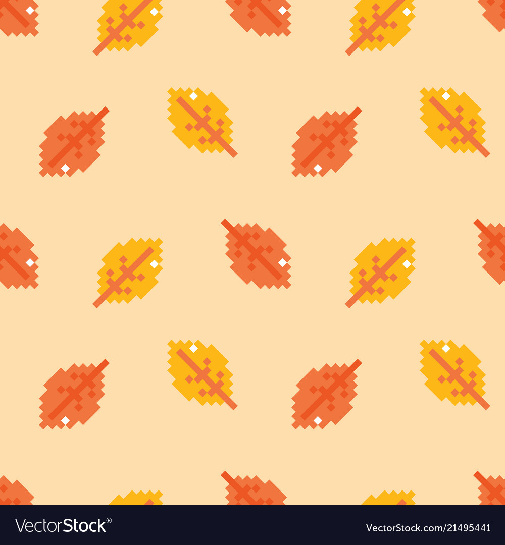 Autumn pixel leaves seamless pattern background
