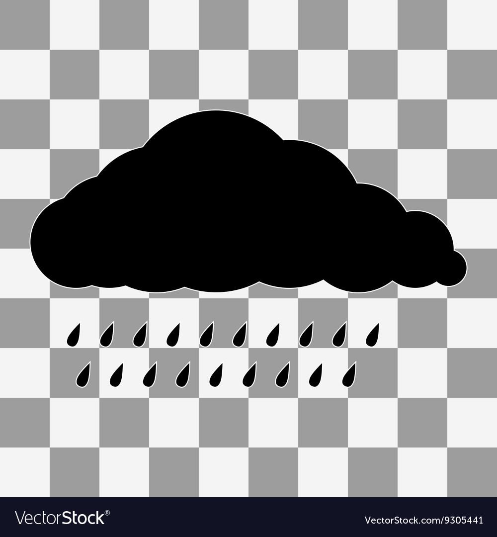 Black Cloud Icon on transparent vector image