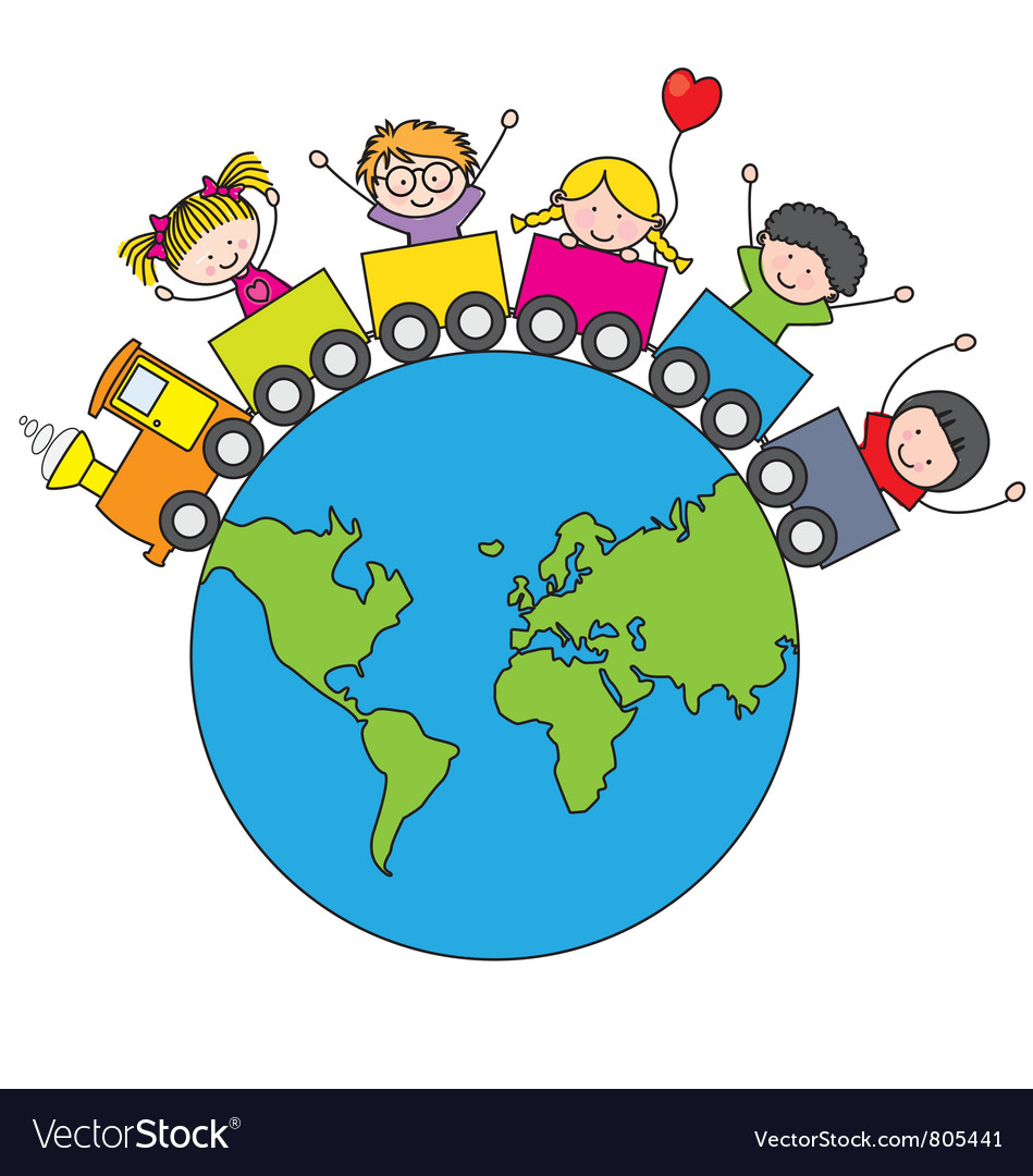 Children Traveling By Train Around The World Vector Image