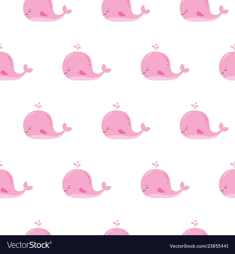 Cute Background With Cartoon Pink Whales Kawaii