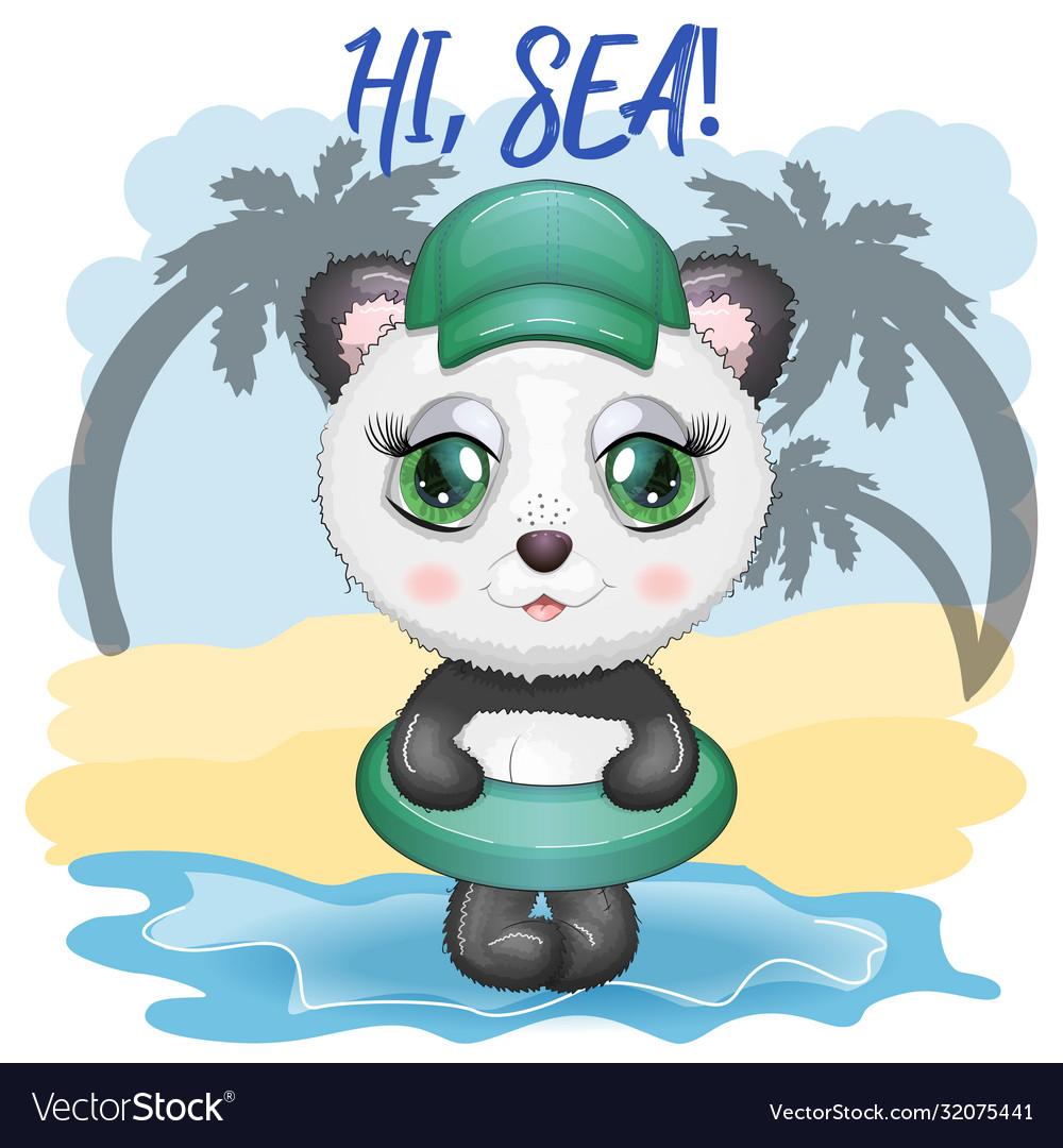 Cute Cartoon Panda With Big Eyes In A Swimming Vector Image