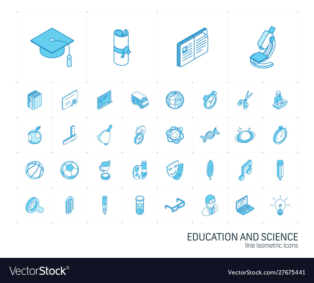 Education and learning isometric line icons 3d