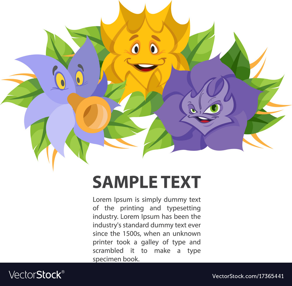 Fabled flowers smiling and talking template with
