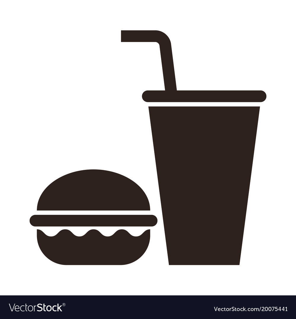Fast food burger and drink icon