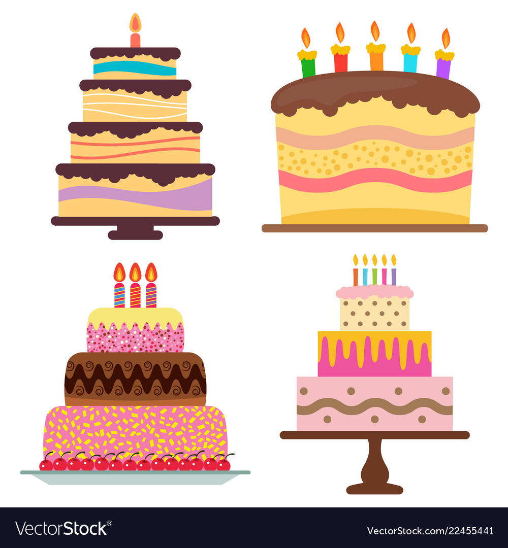 Four sweet birthday cake with burning candles