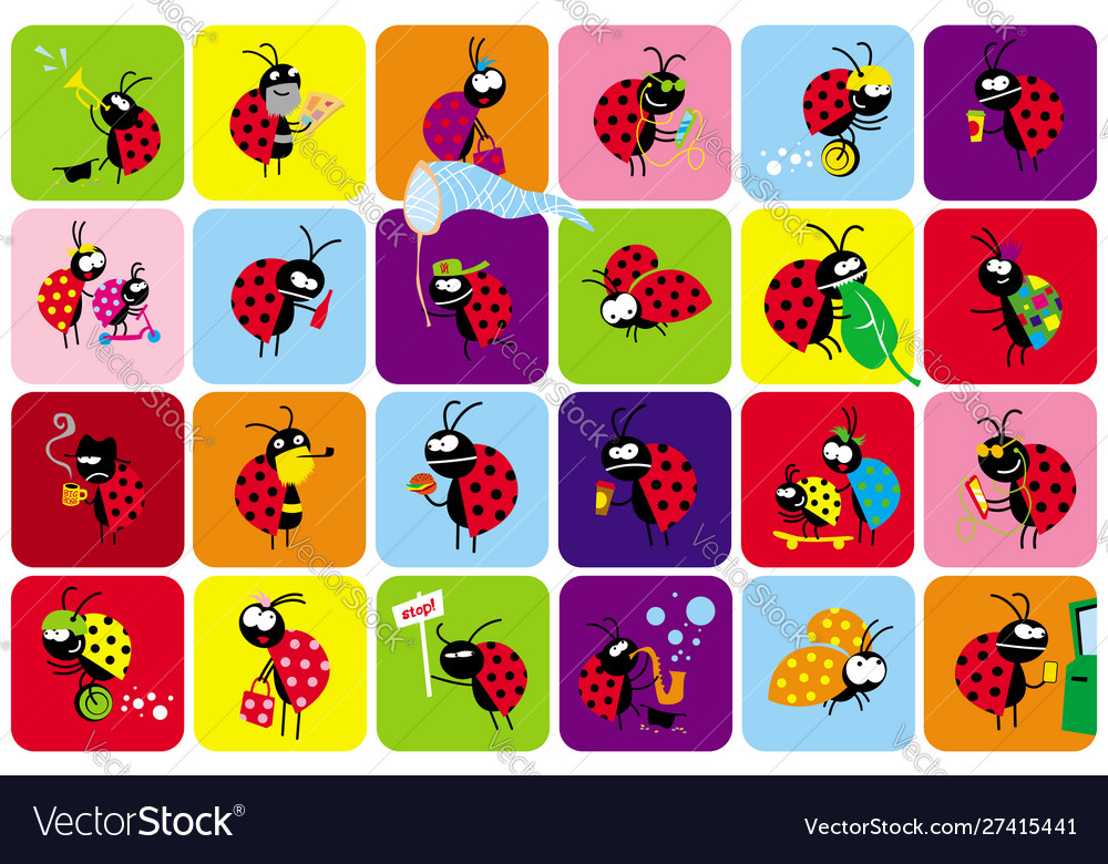 Set funny bugs beetles in different scenes