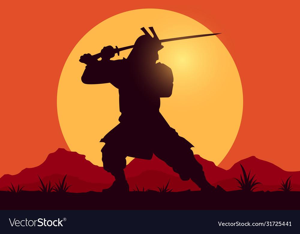 Silhouette samurai worrior with sword