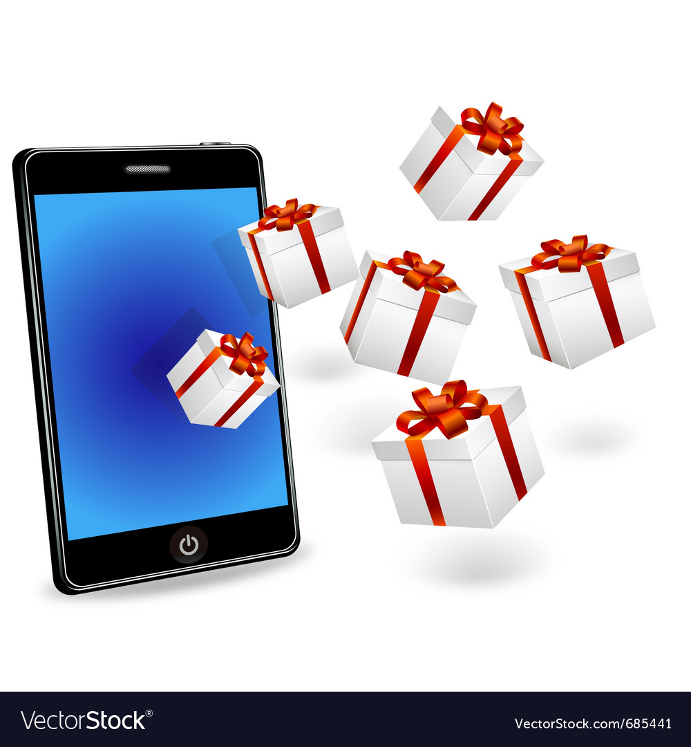 Smart Phone With White Gift Boxes