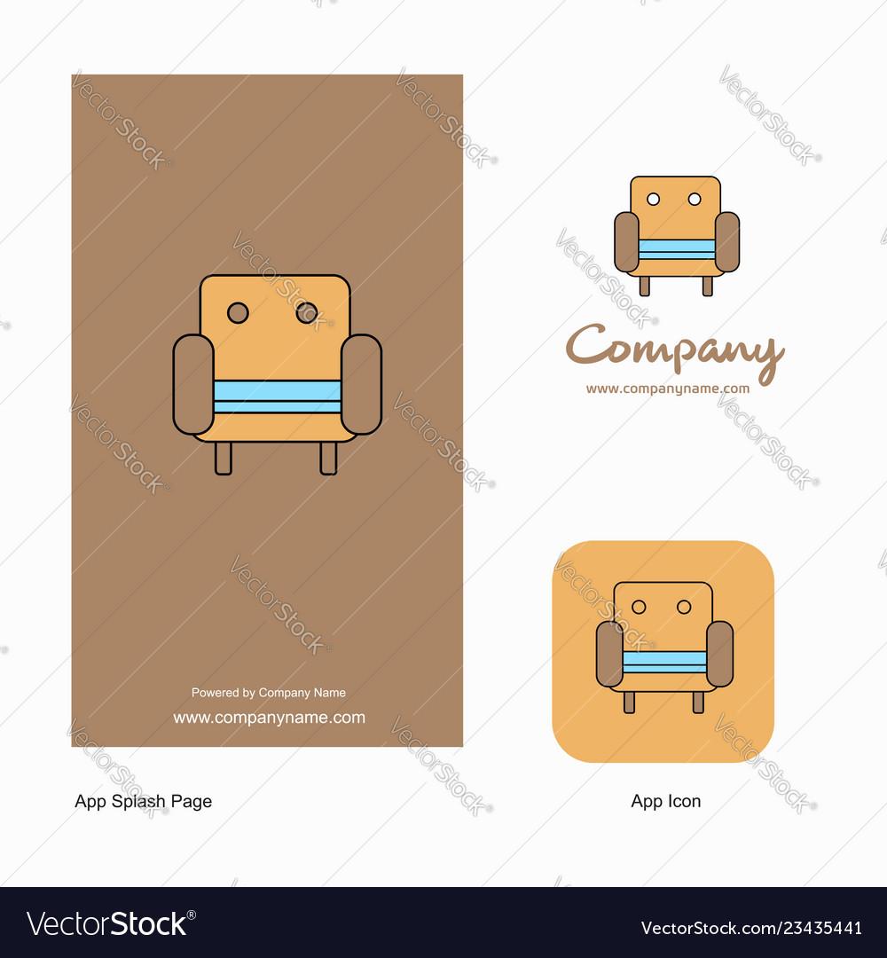 Sofa Company Logo App Icon And Splash Page Design Vector Image