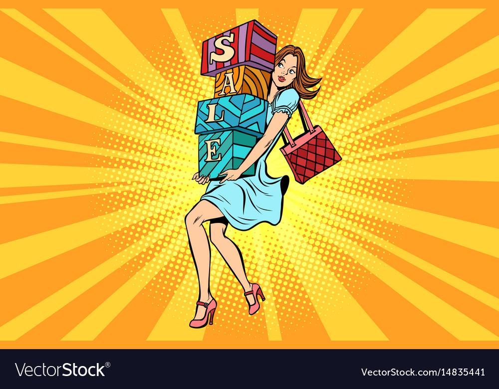 Young woman with boxes sale buyer and shopping