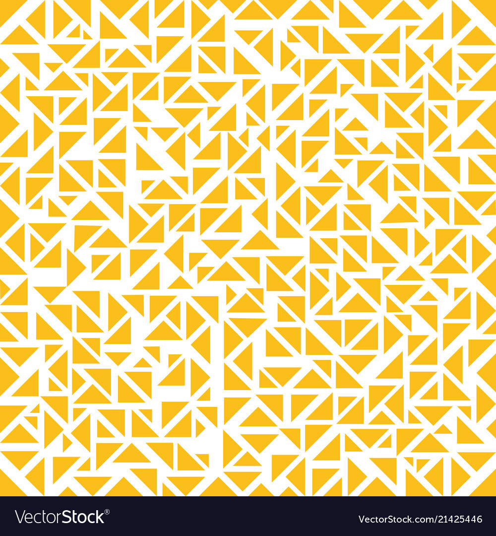 Abstract yellow triangles random pattern on white
