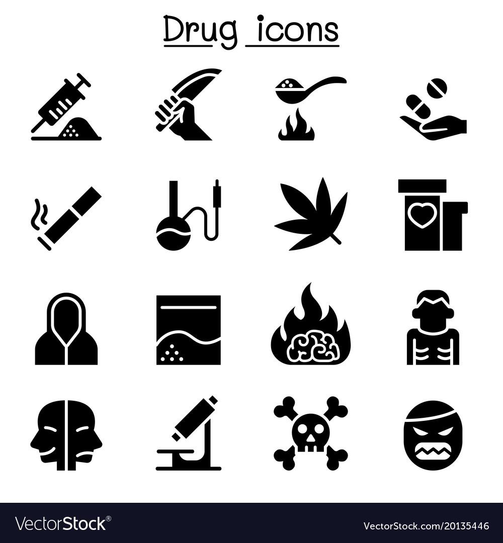 Addiction drug icon set graphic design vector image