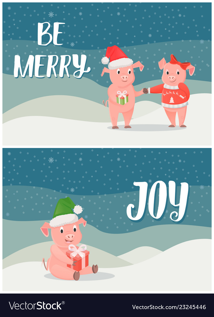 Be merry winter holidays joy postcards with pigs