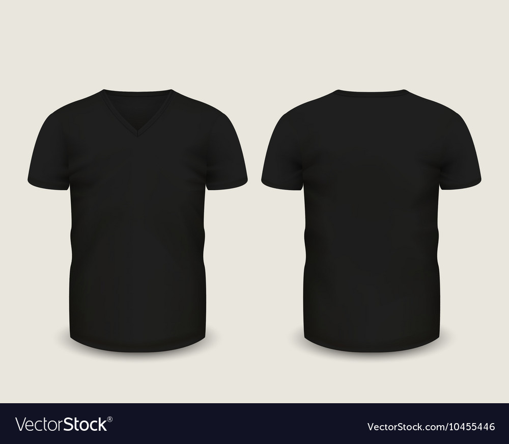 Black V-neck shirts template Royalty Free Vector Image