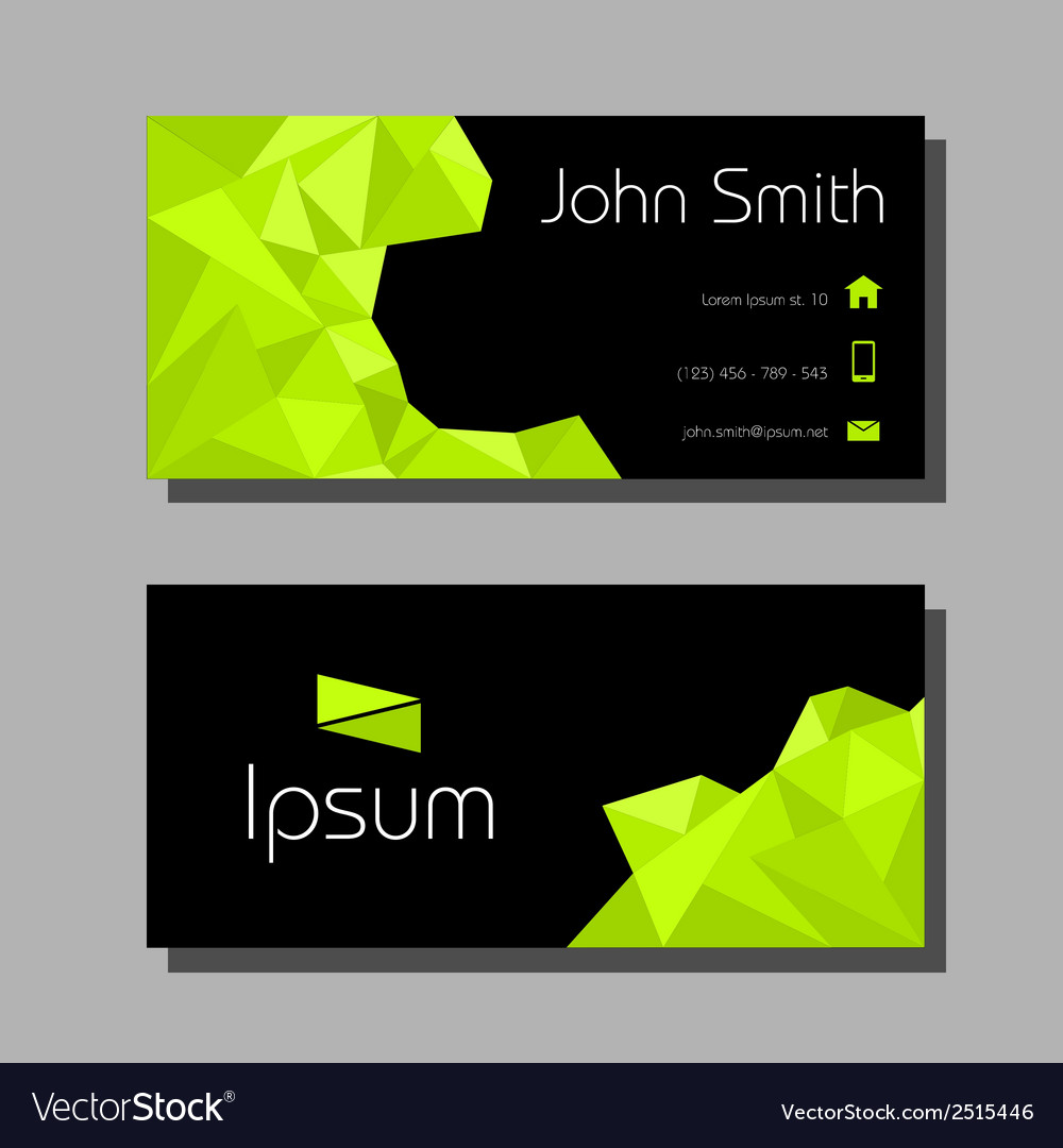 Business card polygon style green and black vector image colourmoves