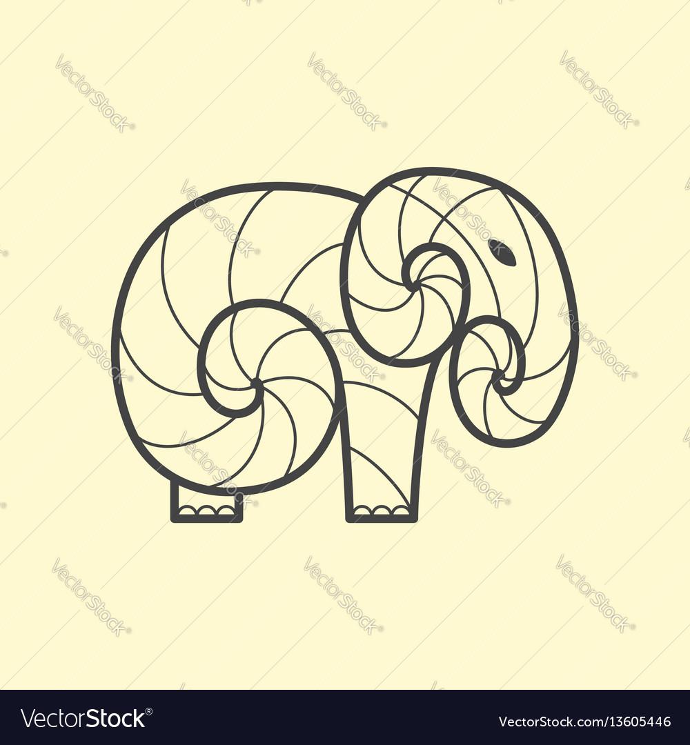 Elephant logo design line art