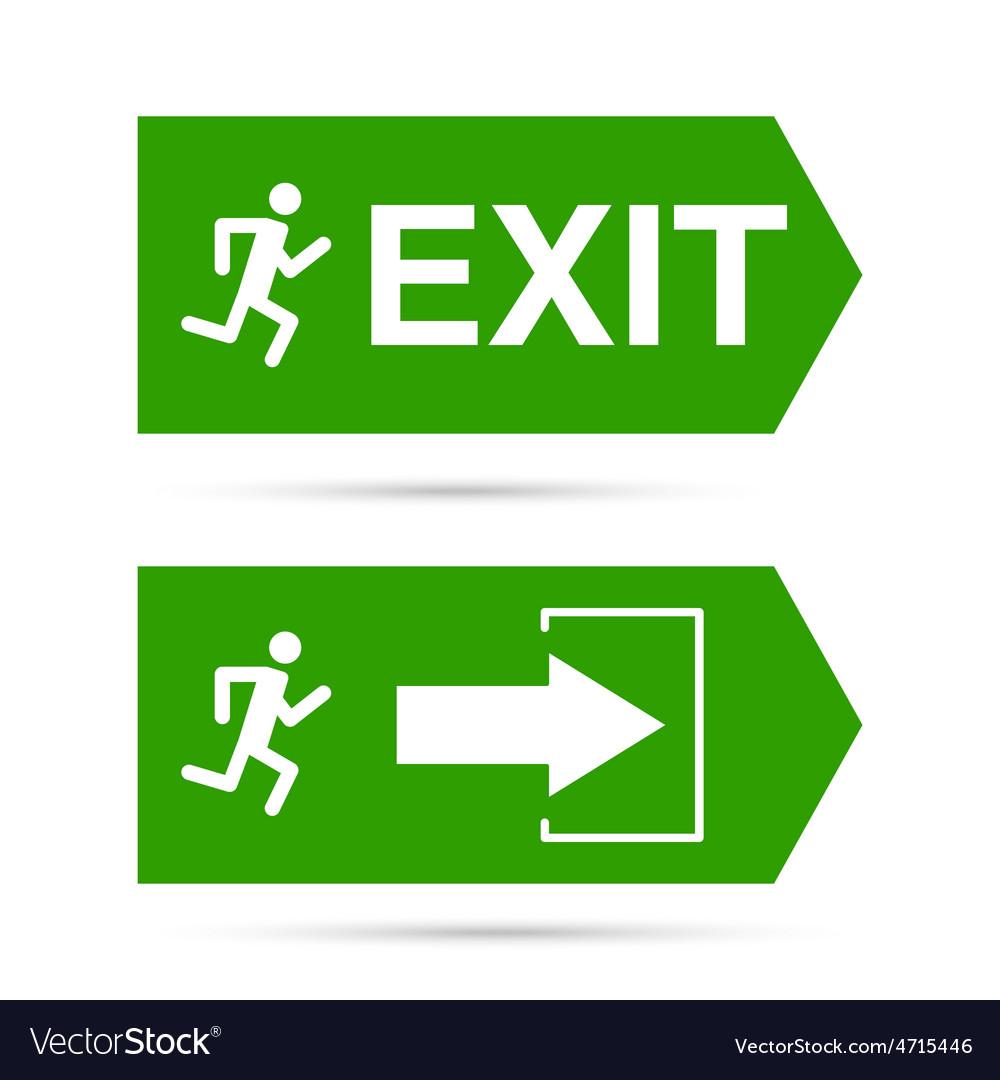emergency exit sign royalty free vector image vectorstock