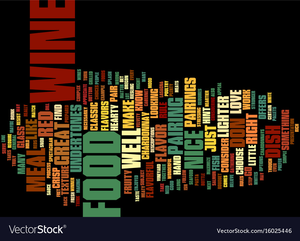 Food and wine text background word cloud concept vector image