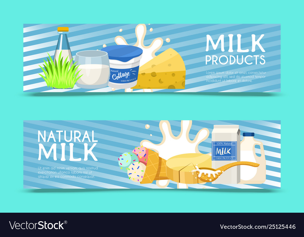 536791e4ad1 Fresh dairy products concept set banners Vector Image
