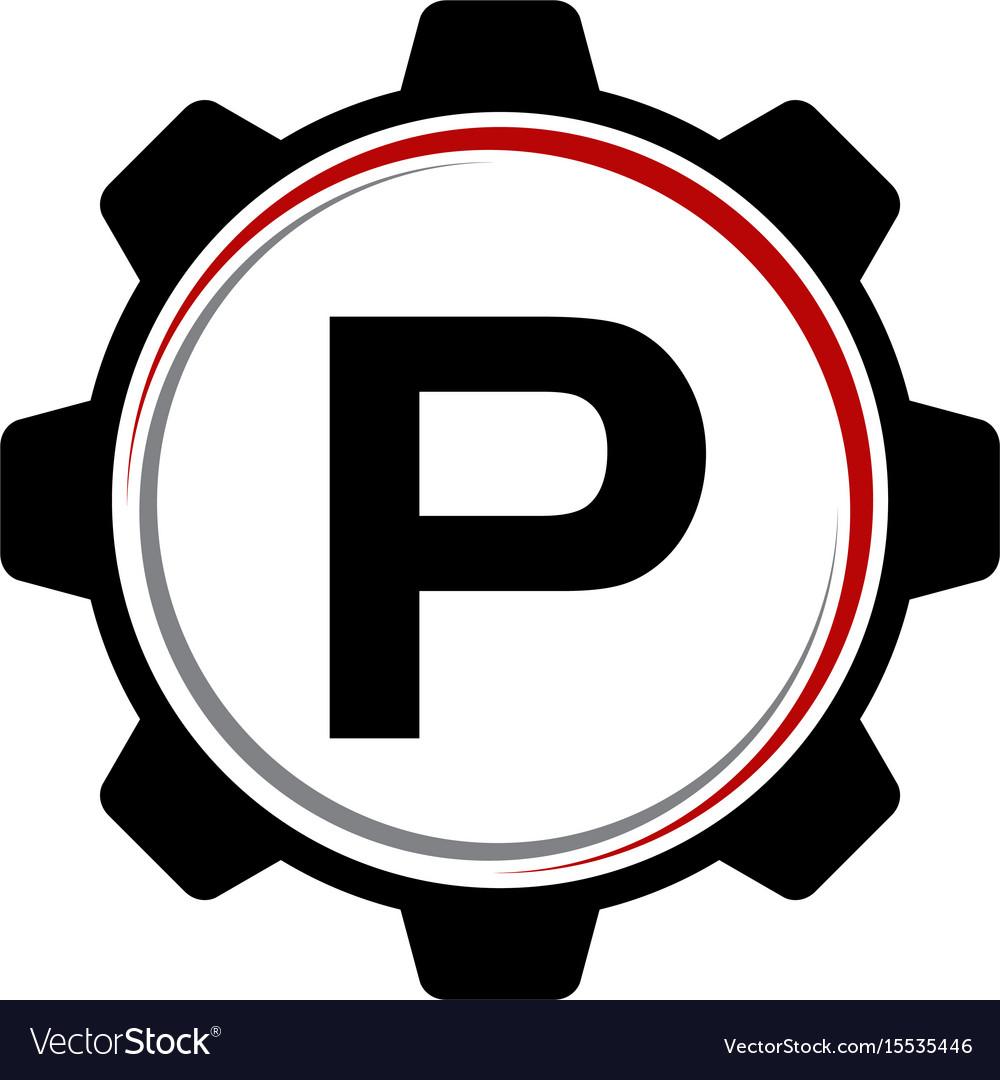 Gear solution logo letter p