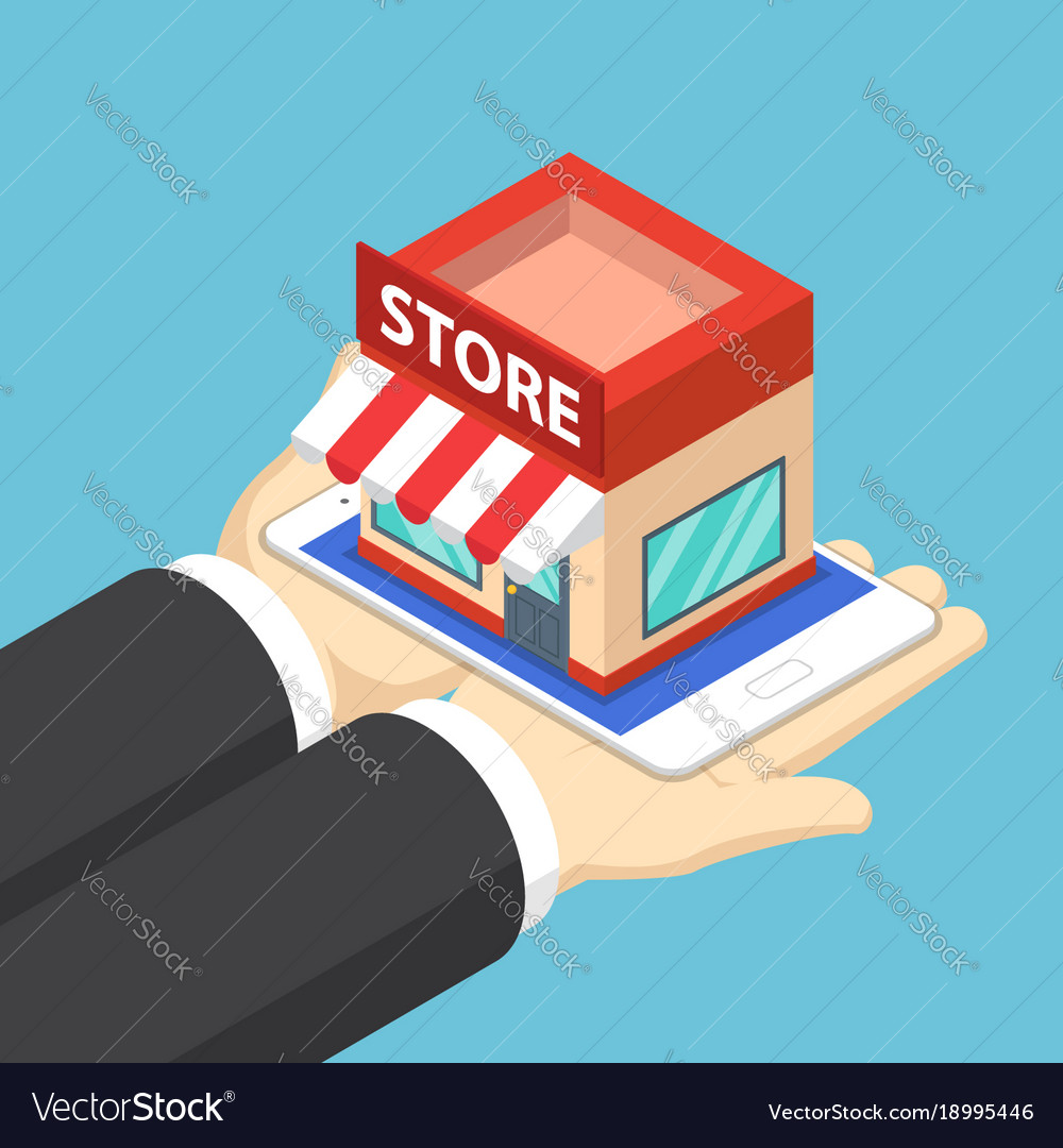 Isometric businessman hands holding tablet