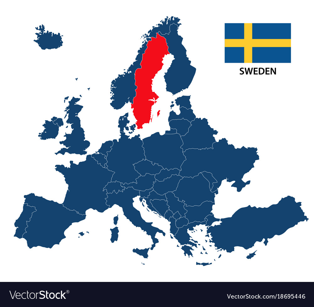 map of sweden and europe Map europe with highlighted sweden Royalty Free Vector Image