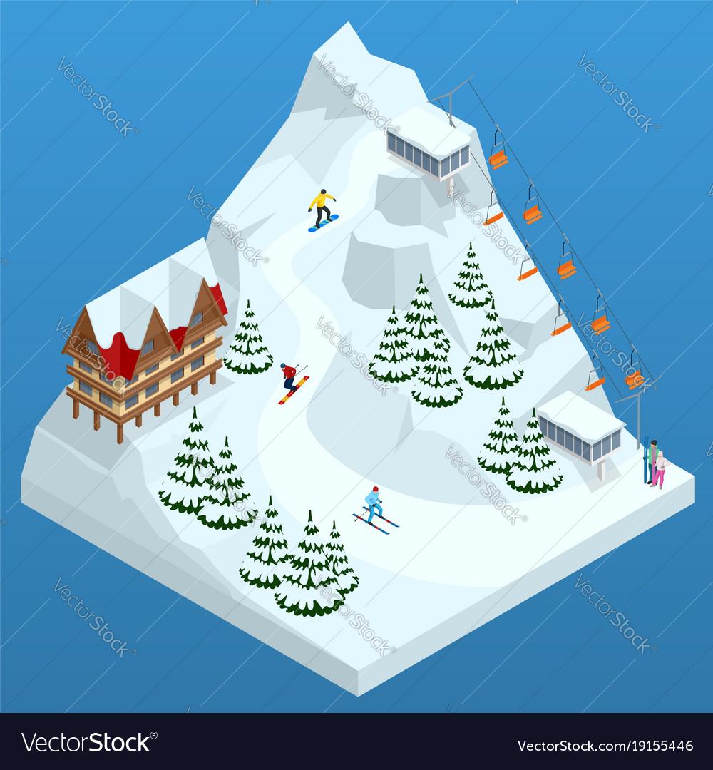 Ski resort slope people on the ski lift skiers