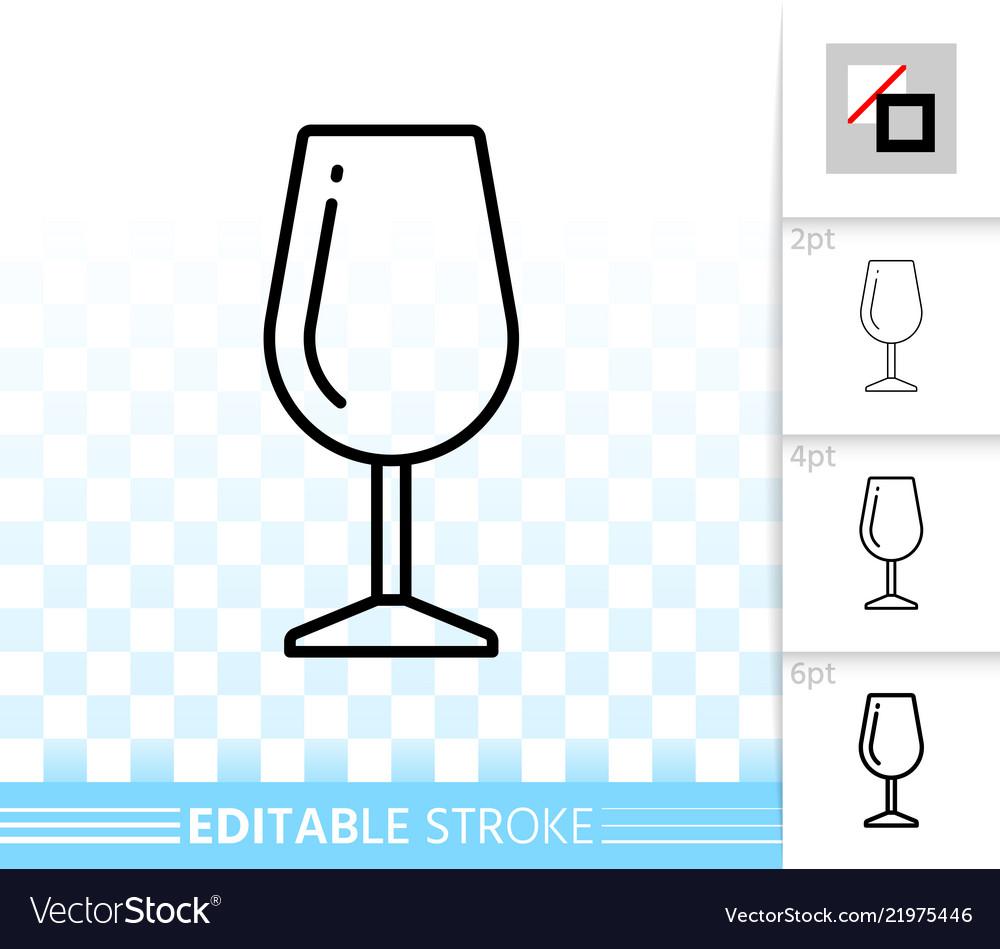 Wine glass simple black line icon